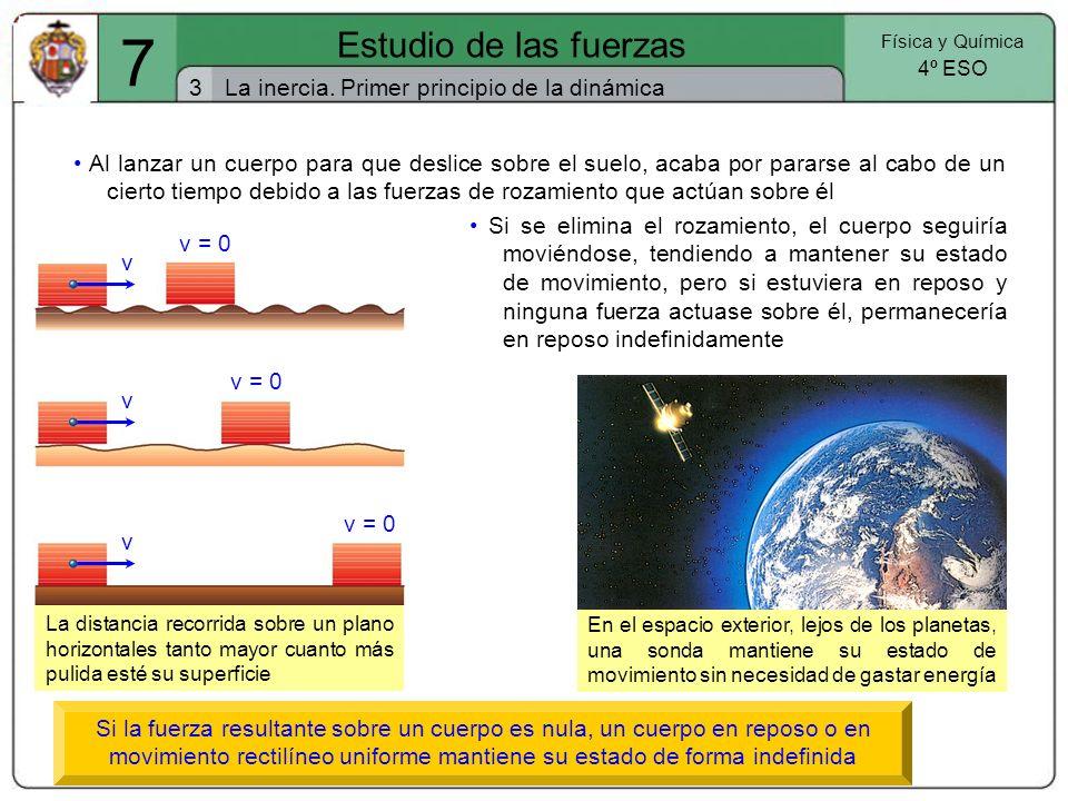 7 Estudio de las fuerzas 3 Física y Química 4º ESO La inercia. Primer principio de la dinámica La distancia recorrida sobre un plano horizontales tant