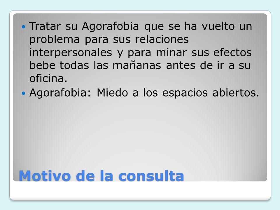 Motivo de la consulta Tratar su Agorafobia que se ha vuelto un problema para sus relaciones interpersonales y para minar sus efectos bebe todas las ma