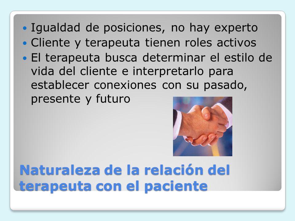 Naturaleza de la relación del terapeuta con el paciente Igualdad de posiciones, no hay experto Cliente y terapeuta tienen roles activos El terapeuta b