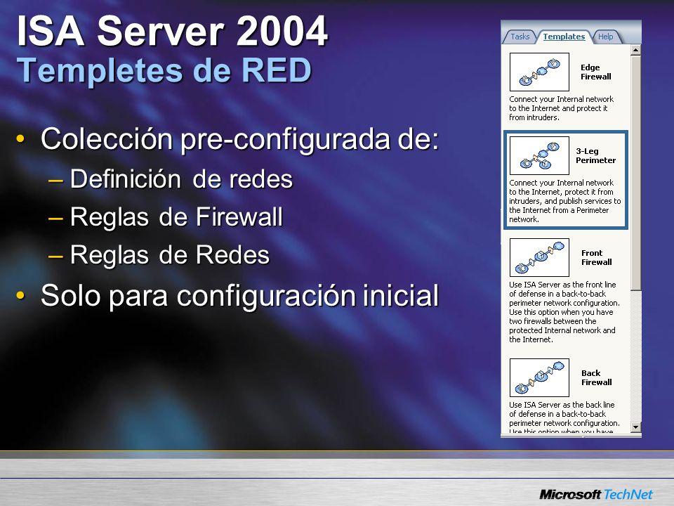 ISA Server 2004 Templetes de RED Colección pre-configurada de:Colección pre-configurada de: –Definición de redes –Reglas de Firewall –Reglas de Redes Solo para configuración inicialSolo para configuración inicial