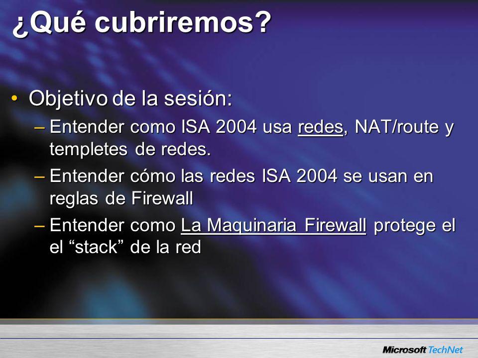 Políticas Firewall Procesamiento de reglas Procesadas estrictamente en ordenProcesadas estrictamente en orden –Verificar regla 1 primero Si hace el matchSi hace el match Si no hace match, probar la siguiente reglaSi no hace match, probar la siguiente regla –Verificar Siguiente Regla Etc…Etc… –Lo que no hace es negar la primera (ISA 2000) Reglas de Defacto Ultimo – concuerda siempre, bloquea todoReglas de Defacto Ultimo – concuerda siempre, bloquea todo Todo tráfico explícitamente permitido o bloqueado por una reglaTodo tráfico explícitamente permitido o bloqueado por una regla