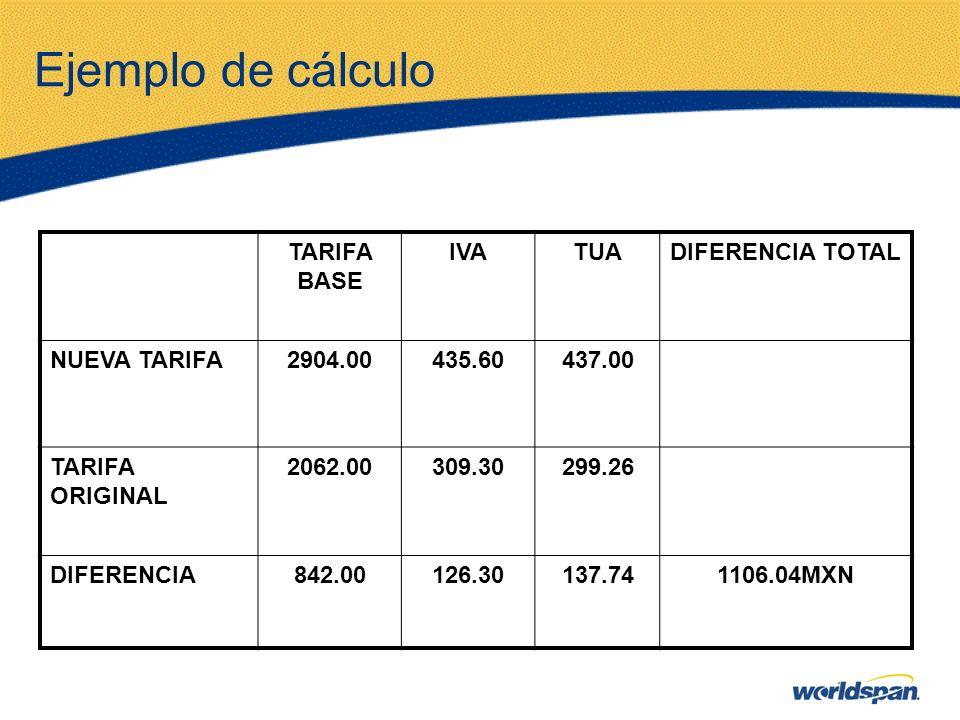 Ejemplo de cálculo TARIFA BASE IVATUADIFERENCIA TOTAL NUEVA TARIFA2904.00435.60437.00 TARIFA ORIGINAL 2062.00309.30299.26 DIFERENCIA842.00126.30137.74