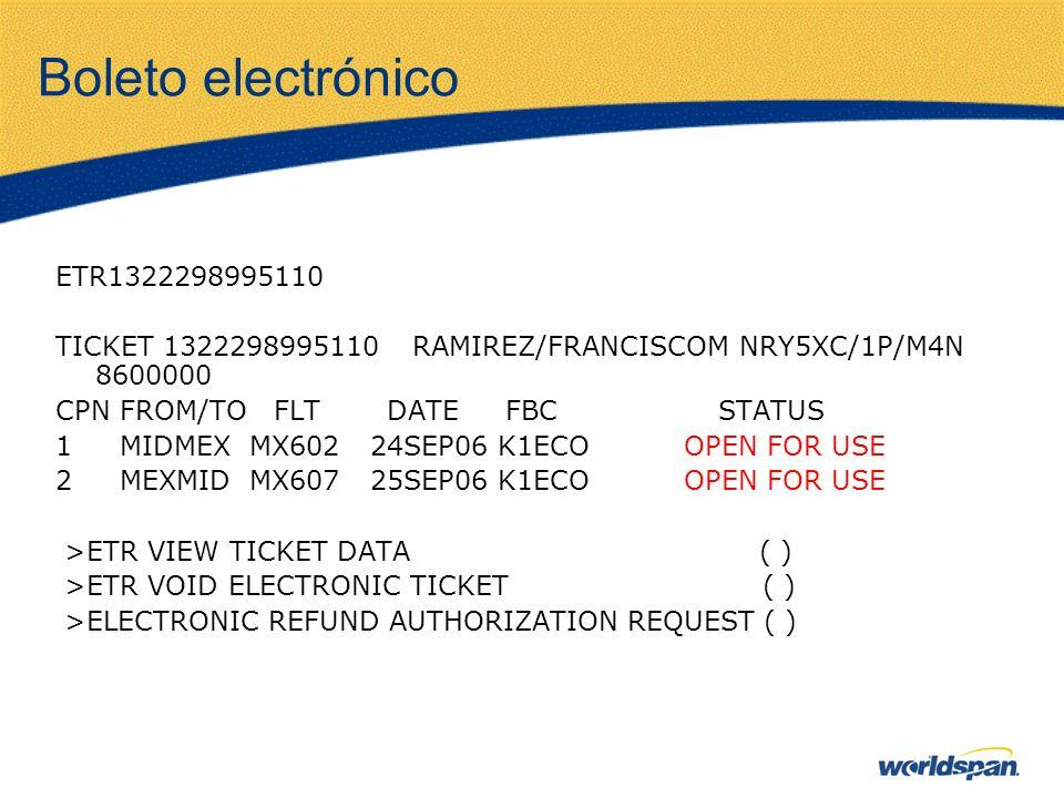 Boleto electrónico ETR1322298995110 TICKET 1322298995110 RAMIREZ/FRANCISCOM NRY5XC/1P/M4N 8600000 CPN FROM/TO FLT DATE FBC STATUS 1 MIDMEX MX602 24SEP