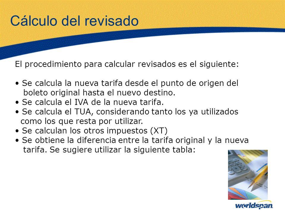 Cálculo del revisado El procedimiento para calcular revisados es el siguiente: Se calcula la nueva tarifa desde el punto de origen del boleto original