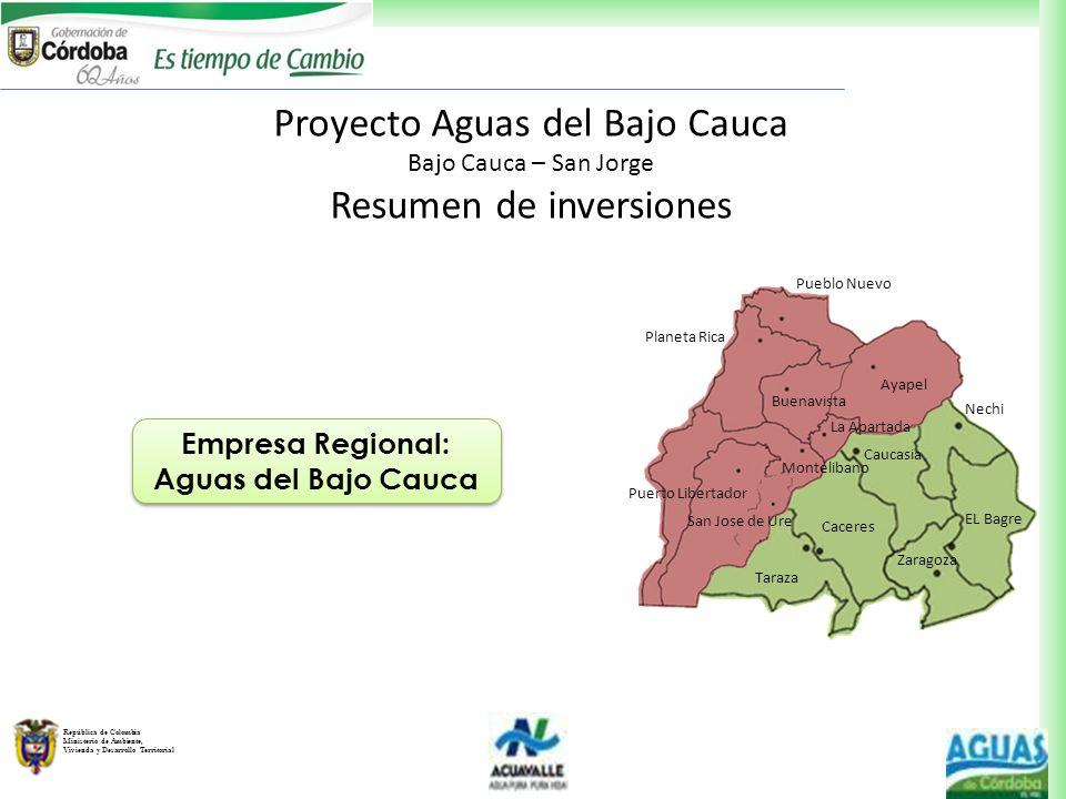 República de Colombia Ministerio de Ambiente, Vivienda y Desarrollo Territorial Proyecto Aguas del Bajo Cauca Bajo Cauca – San Jorge Resumen de invers