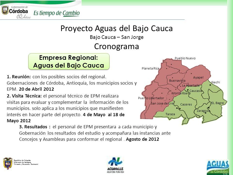 República de Colombia Ministerio de Ambiente, Vivienda y Desarrollo Territorial Proyecto Aguas del Bajo Cauca Bajo Cauca – San Jorge Cronograma Empres