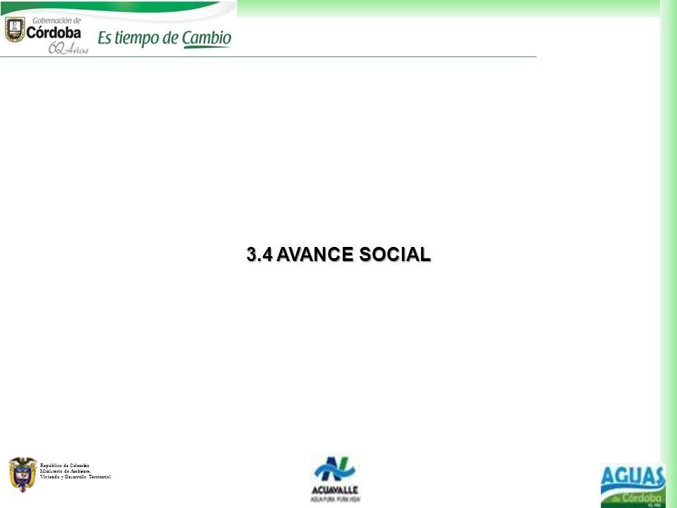 República de Colombia Ministerio de Ambiente, Vivienda y Desarrollo Territorial 3.4 AVANCE SOCIAL