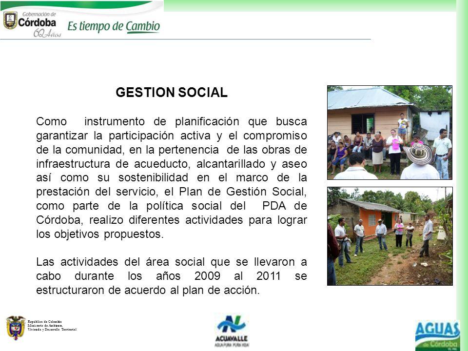 República de Colombia Ministerio de Ambiente, Vivienda y Desarrollo Territorial GESTION SOCIAL Como instrumento de planificación que busca garantizar