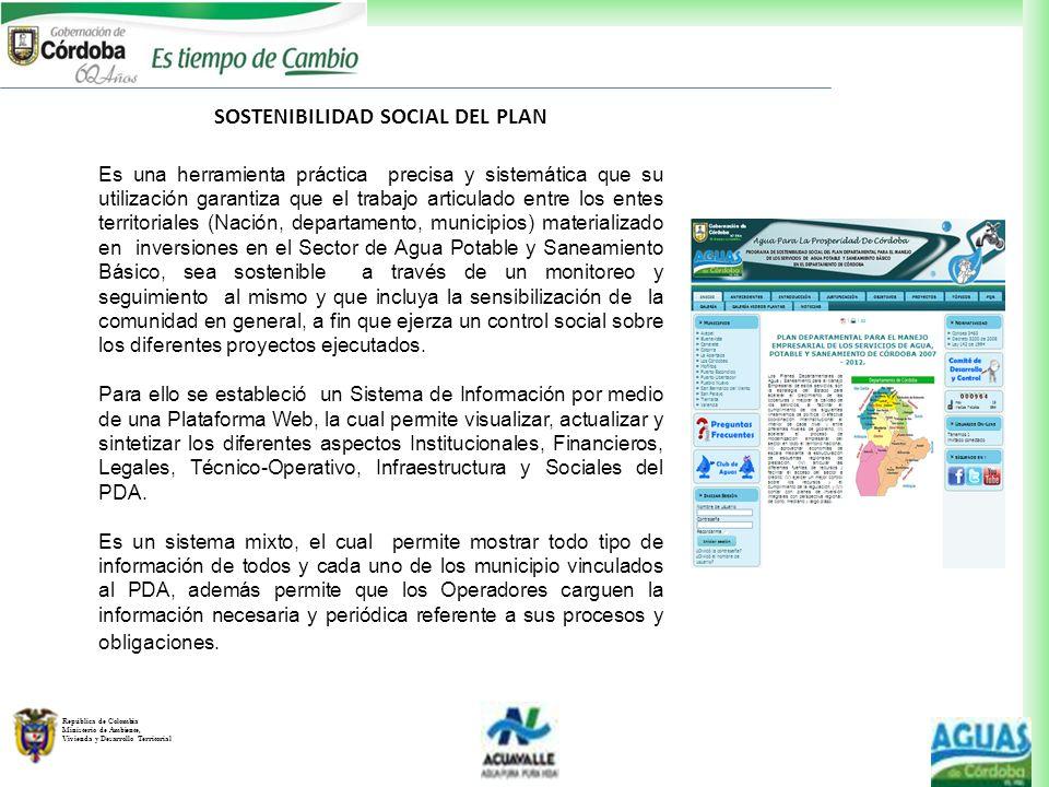 República de Colombia Ministerio de Ambiente, Vivienda y Desarrollo Territorial SOSTENIBILIDAD SOCIAL DEL PLAN Es una herramienta práctica precisa y s
