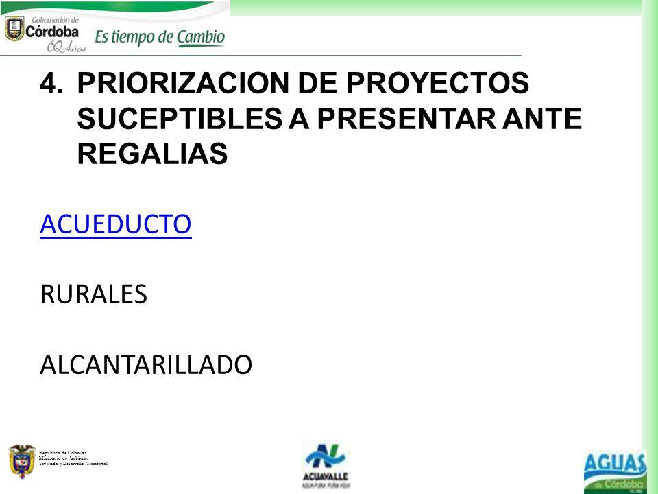 República de Colombia Ministerio de Ambiente, Vivienda y Desarrollo Territorial 4.PRIORIZACION DE PROYECTOS SUCEPTIBLES A PRESENTAR ANTE REGALIAS ACUE