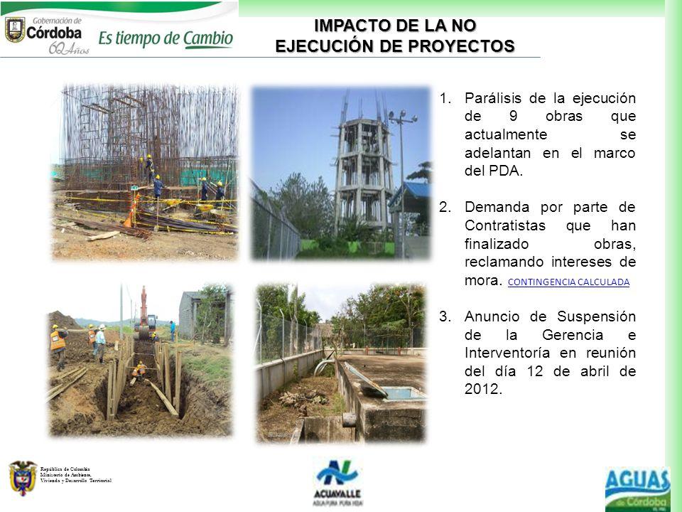 República de Colombia Ministerio de Ambiente, Vivienda y Desarrollo Territorial 1.Parálisis de la ejecución de 9 obras que actualmente se adelantan en