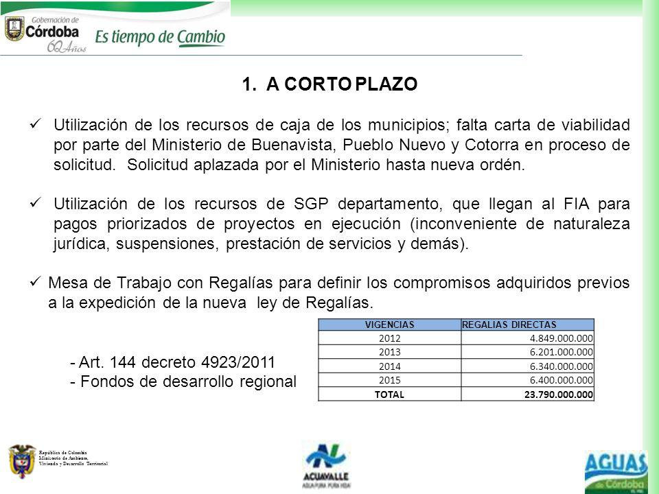 República de Colombia Ministerio de Ambiente, Vivienda y Desarrollo Territorial 1. A CORTO PLAZO Utilización de los recursos de caja de los municipios