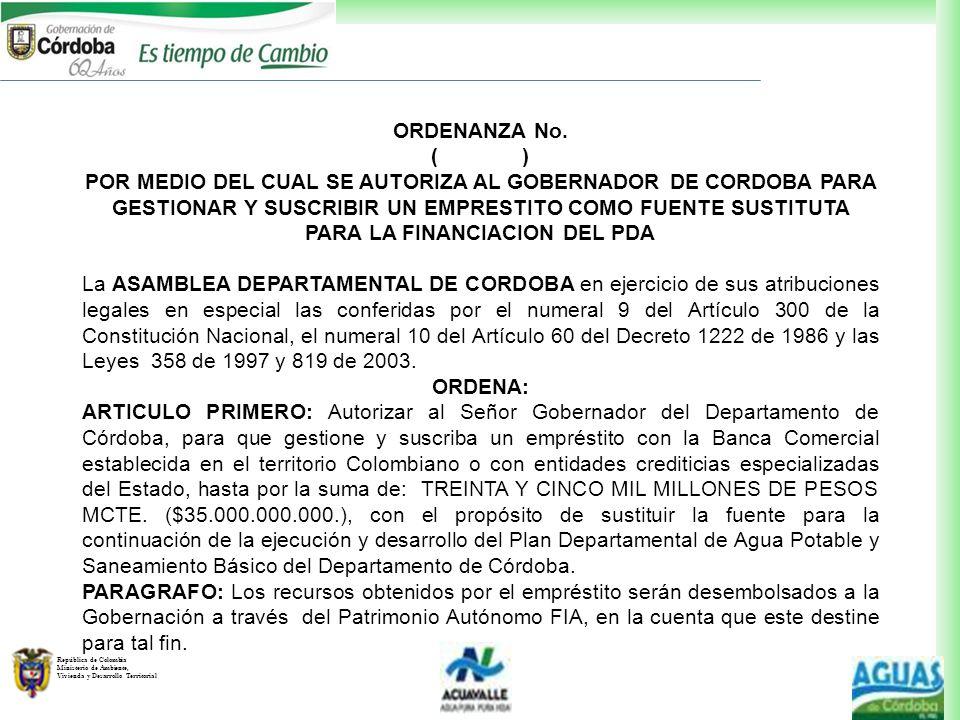 República de Colombia Ministerio de Ambiente, Vivienda y Desarrollo Territorial ORDENANZA No. ( ) POR MEDIO DEL CUAL SE AUTORIZA AL GOBERNADOR DE CORD