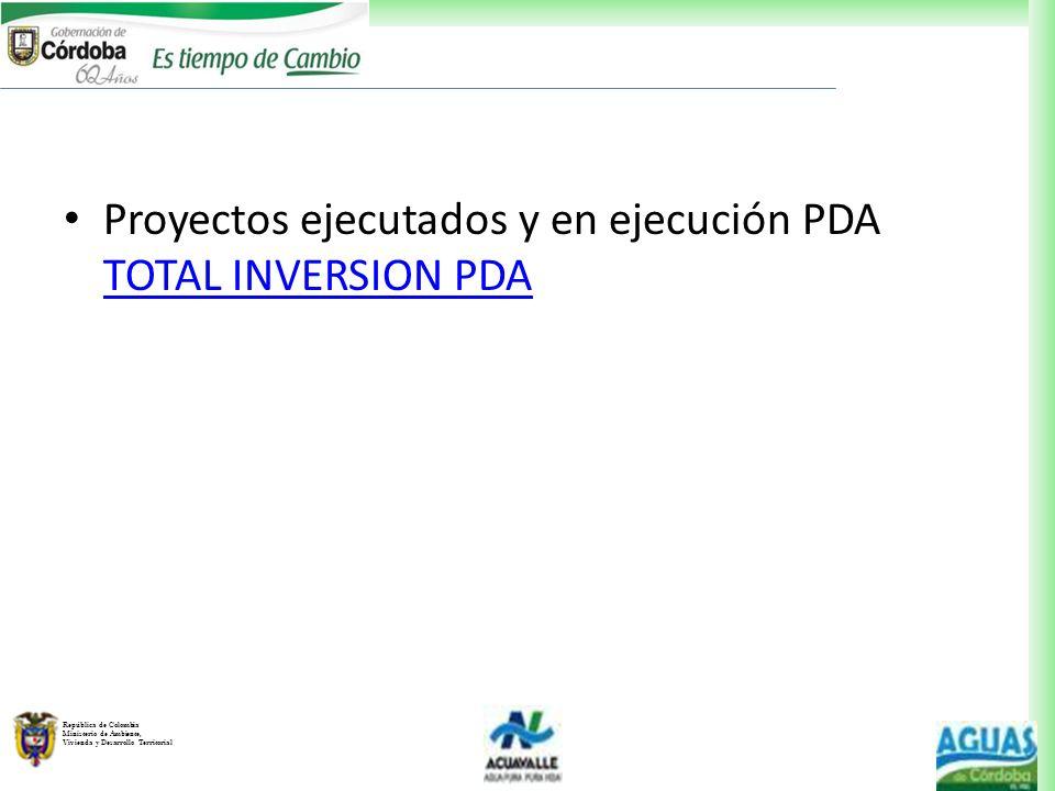 República de Colombia Ministerio de Ambiente, Vivienda y Desarrollo Territorial Proyectos ejecutados y en ejecución PDA TOTAL INVERSION PDA TOTAL INVE