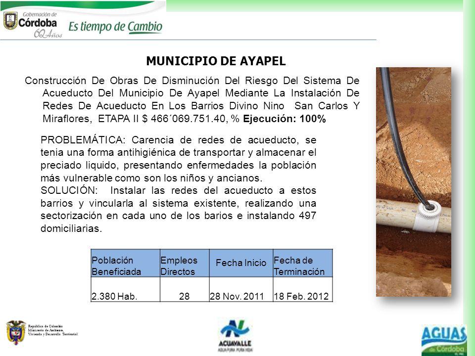 República de Colombia Ministerio de Ambiente, Vivienda y Desarrollo Territorial PROBLEMÁTICA: Carencia de redes de acueducto, se tenia una forma antih