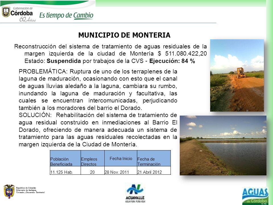 República de Colombia Ministerio de Ambiente, Vivienda y Desarrollo Territorial PROBLEMÁTICA: Ruptura de uno de los terraplenes de la laguna de madura