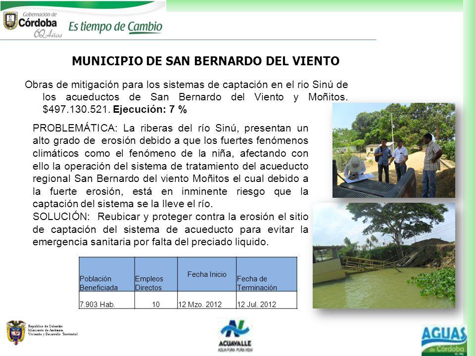 República de Colombia Ministerio de Ambiente, Vivienda y Desarrollo Territorial PROBLEMÁTICA: La riberas del río Sinú, presentan un alto grado de eros