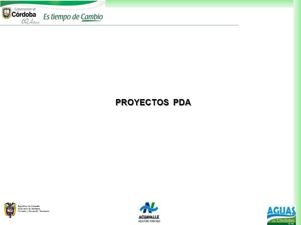 República de Colombia Ministerio de Ambiente, Vivienda y Desarrollo Territorial PROYECTOS PDA