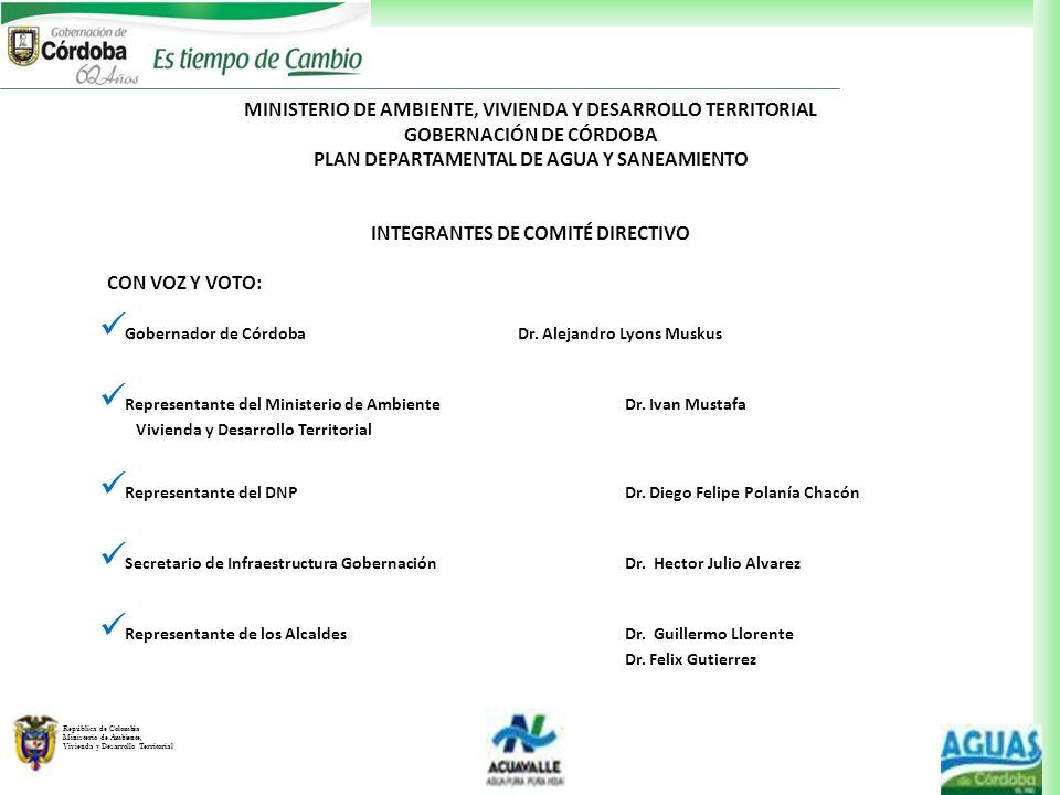 República de Colombia Ministerio de Ambiente, Vivienda y Desarrollo Territorial MINISTERIO DE AMBIENTE, VIVIENDA Y DESARROLLO TERRITORIAL GOBERNACIÓN