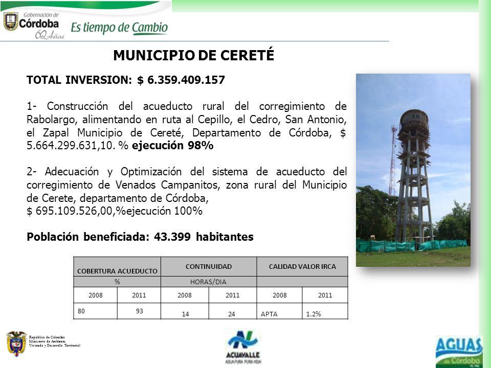 República de Colombia Ministerio de Ambiente, Vivienda y Desarrollo Territorial MUNICIPIO DE CERETÉ TOTAL INVERSION: $ 6.359.409.157 1- Construcción d