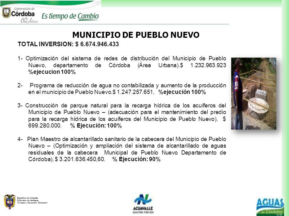 República de Colombia Ministerio de Ambiente, Vivienda y Desarrollo Territorial MUNICIPIO DE PUEBLO NUEVO TOTAL INVERSION: $ 6.674.946.433 1- Optimiza