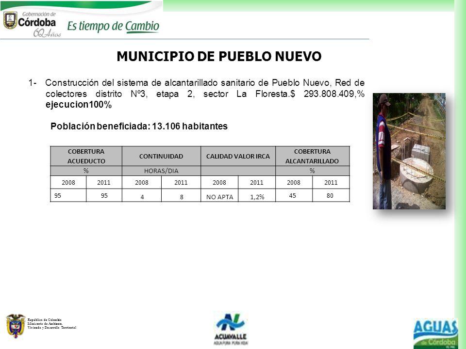 República de Colombia Ministerio de Ambiente, Vivienda y Desarrollo Territorial MUNICIPIO DE PUEBLO NUEVO 1- Construcción del sistema de alcantarillad