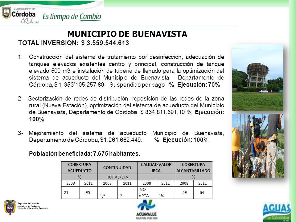 República de Colombia Ministerio de Ambiente, Vivienda y Desarrollo Territorial TOTAL INVERSION: $ 3.559.544.613 1.Construcción del sistema de tratami
