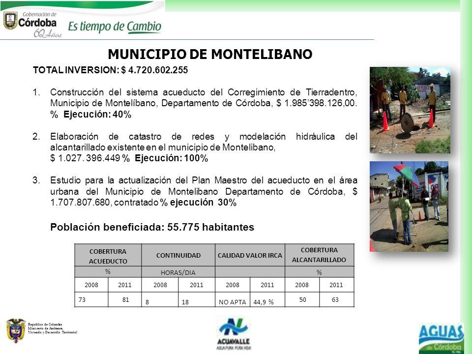República de Colombia Ministerio de Ambiente, Vivienda y Desarrollo Territorial MUNICIPIO DE MONTELIBANO TOTAL INVERSION: $ 4.720.602.255 1.Construcci
