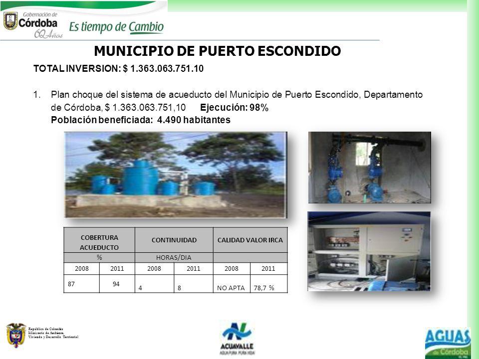 República de Colombia Ministerio de Ambiente, Vivienda y Desarrollo Territorial MUNICIPIO DE PUERTO ESCONDIDO TOTAL INVERSION: $ 1.363.063.751.10 1.Pl