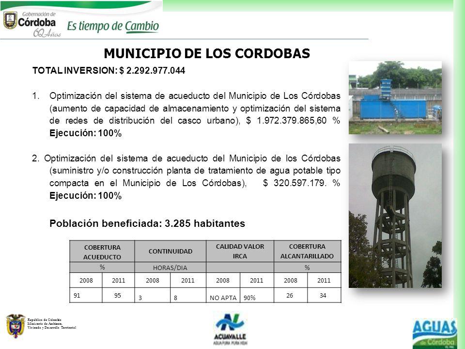 República de Colombia Ministerio de Ambiente, Vivienda y Desarrollo Territorial MUNICIPIO DE LOS CORDOBAS TOTAL INVERSION: $ 2.292.977.044 1.Optimizac