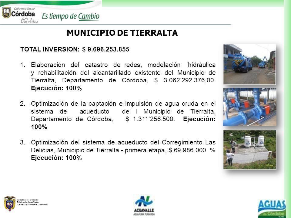 República de Colombia Ministerio de Ambiente, Vivienda y Desarrollo Territorial MUNICIPIO DE TIERRALTA TOTAL INVERSION: $ 9.696.253.855 1.Elaboración