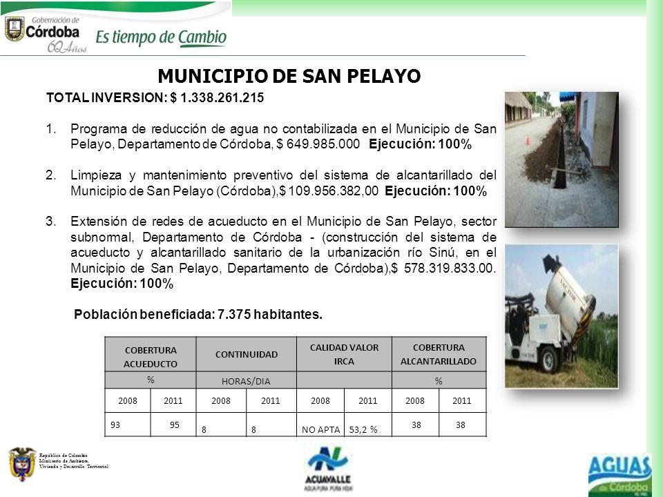 República de Colombia Ministerio de Ambiente, Vivienda y Desarrollo Territorial MUNICIPIO DE SAN PELAYO TOTAL INVERSION: $ 1.338.261.215 1.Programa de