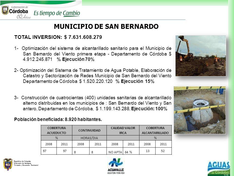 República de Colombia Ministerio de Ambiente, Vivienda y Desarrollo Territorial MUNICIPIO DE SAN BERNARDO TOTAL INVERSION: $ 7.631.608.279 1- Optimiza