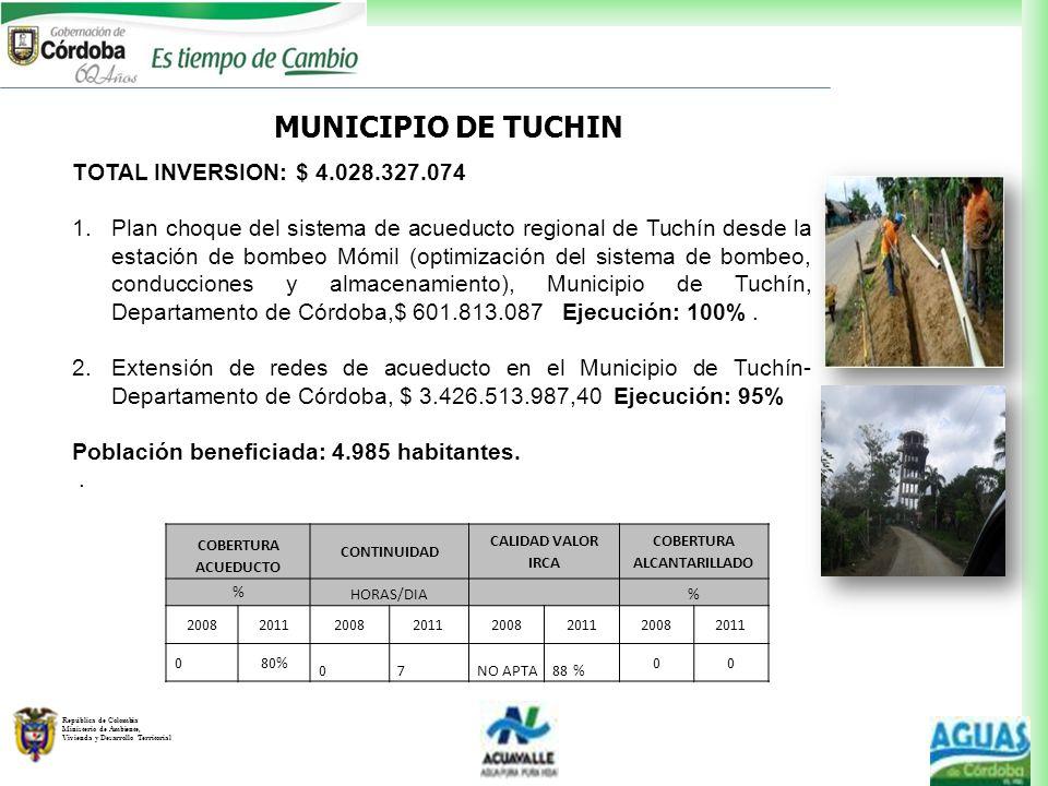 República de Colombia Ministerio de Ambiente, Vivienda y Desarrollo Territorial MUNICIPIO DE TUCHIN TOTAL INVERSION: $ 4.028.327.074 1.Plan choque del