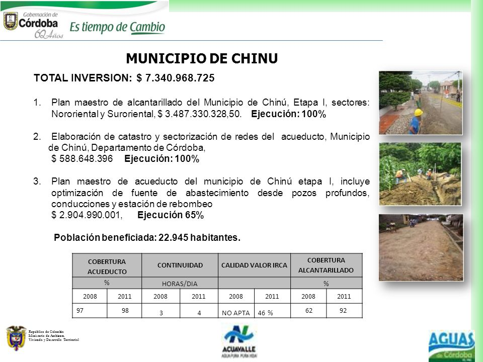 República de Colombia Ministerio de Ambiente, Vivienda y Desarrollo Territorial MUNICIPIO DE CHINU TOTAL INVERSION: $ 7.340.968.725 1.Plan maestro de
