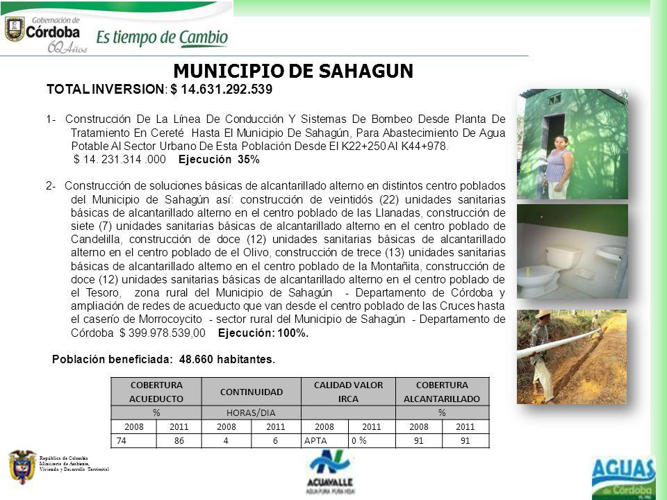 República de Colombia Ministerio de Ambiente, Vivienda y Desarrollo Territorial TOTAL INVERSION: $ 14.631.292.539 1- Construcción De La Línea De Condu