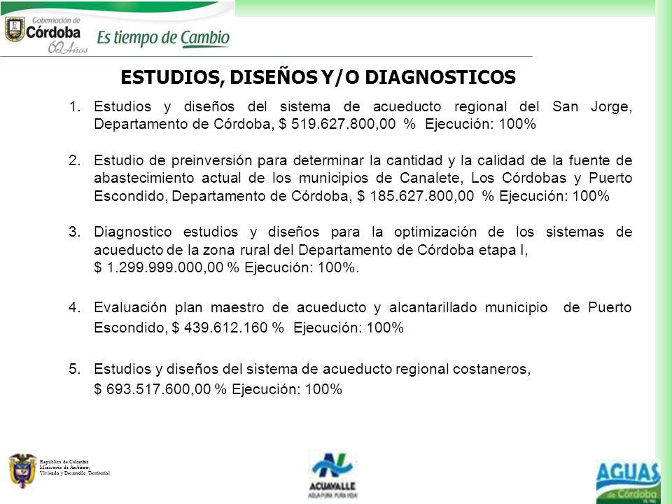 República de Colombia Ministerio de Ambiente, Vivienda y Desarrollo Territorial ESTUDIOS, DISEÑOS Y/O DIAGNOSTICOS 1.Estudios y diseños del sistema de