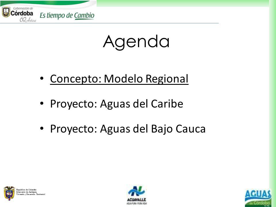 República de Colombia Ministerio de Ambiente, Vivienda y Desarrollo Territorial Concepto: Modelo Regional Proyecto: Aguas del Caribe Proyecto: Aguas d