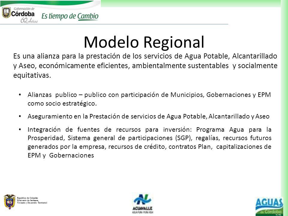 República de Colombia Ministerio de Ambiente, Vivienda y Desarrollo Territorial Es una alianza para la prestación de los servicios de Agua Potable, Al