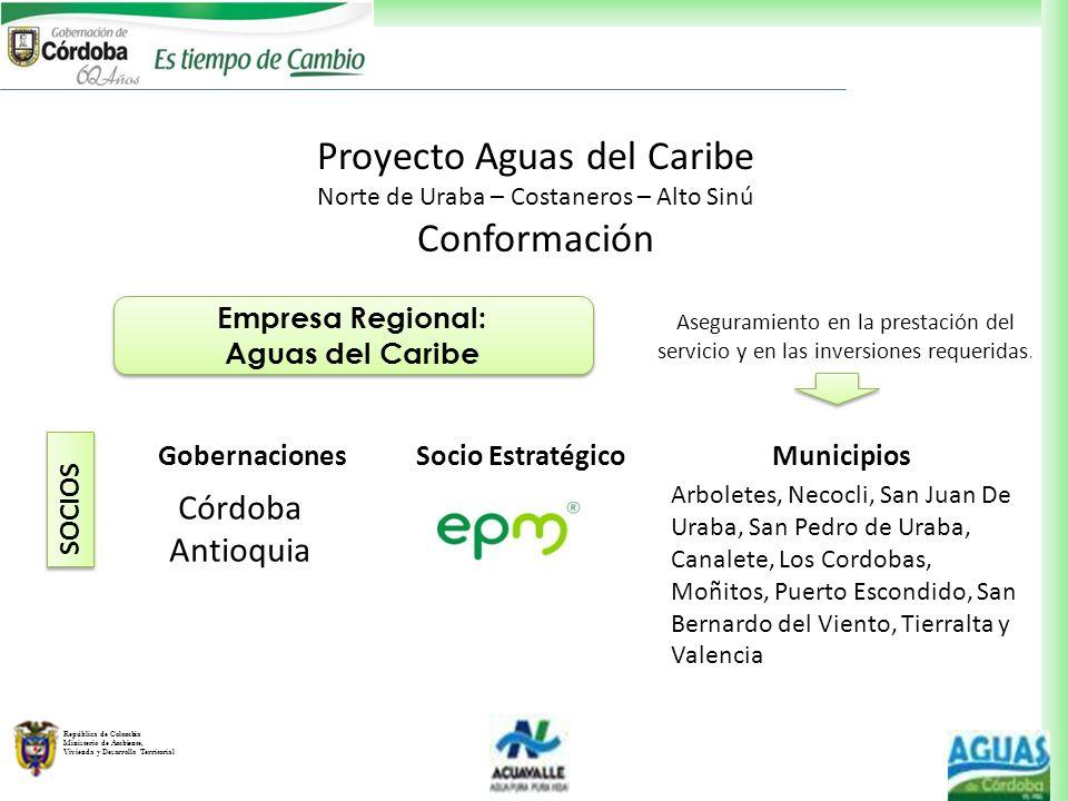 República de Colombia Ministerio de Ambiente, Vivienda y Desarrollo Territorial Empresa Regional: Aguas del Caribe Empresa Regional: Aguas del Caribe