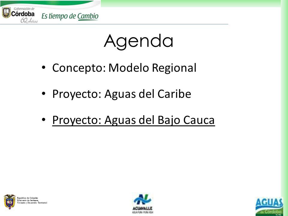 República de Colombia Ministerio de Ambiente, Vivienda y Desarrollo Territorial Agenda Concepto: Modelo Regional Proyecto: Aguas del Caribe Proyecto: