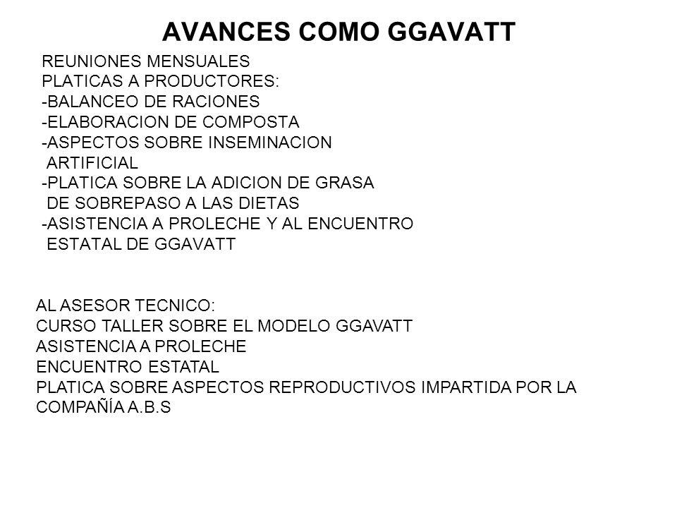 AVANCES COMO GGAVATT REUNIONES MENSUALES PLATICAS A PRODUCTORES: -BALANCEO DE RACIONES -ELABORACION DE COMPOSTA -ASPECTOS SOBRE INSEMINACION ARTIFICIA