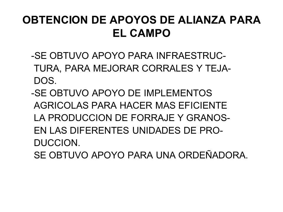 OBTENCION DE APOYOS DE ALIANZA PARA EL CAMPO -SE OBTUVO APOYO PARA INFRAESTRUC- TURA, PARA MEJORAR CORRALES Y TEJA- DOS. -SE OBTUVO APOYO DE IMPLEMENT