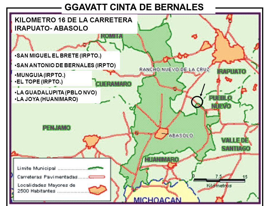KILOMETRO 16 DE LA CARRETERA IRAPUATO- ABASOLO GGAVATT CINTA DE BERNALES SAN MIGUEL EL BRETE (IRPTO.) SAN ANTONIO DE BERNALES (IRPTO) LA GUADALUPITA (