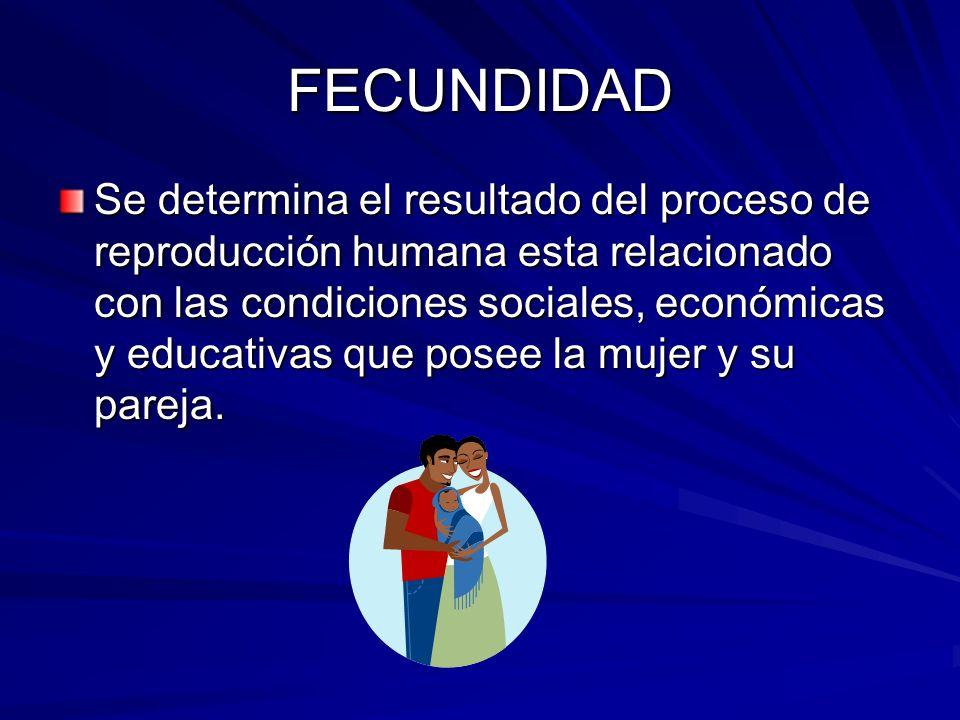 FECUNDIDAD Se determina el resultado del proceso de reproducción humana esta relacionado con las condiciones sociales, económicas y educativas que pos