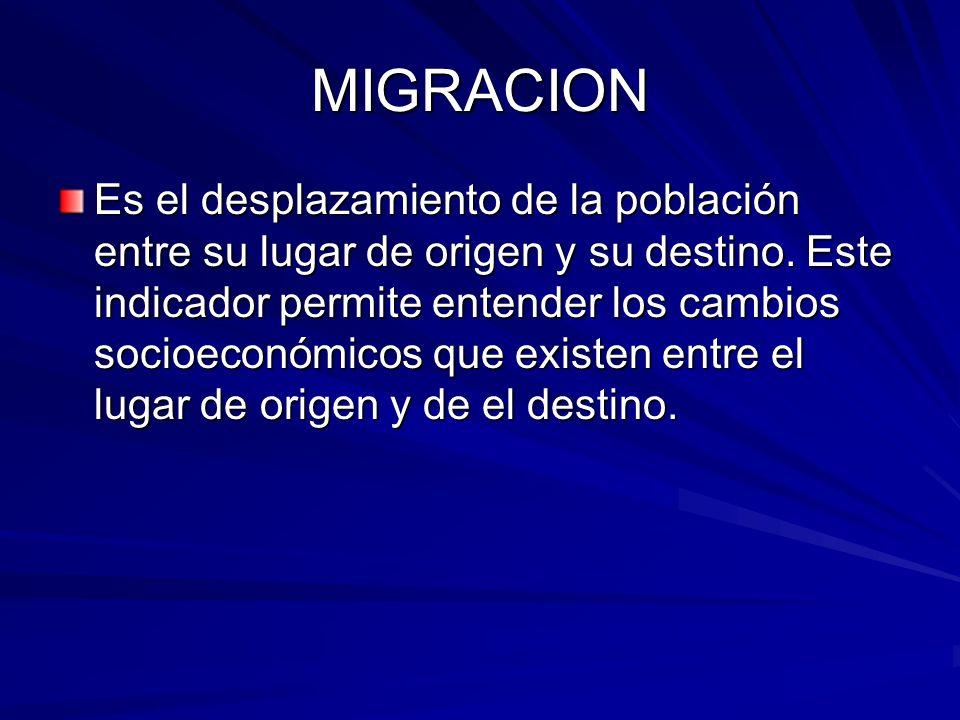 MIGRACION Es el desplazamiento de la población entre su lugar de origen y su destino. Este indicador permite entender los cambios socioeconómicos que