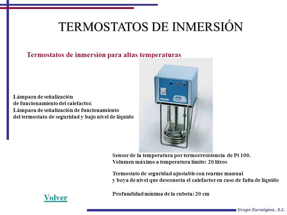 Grupo Eurosigma, S.L. TERMOSTATOS DE INMERSIÓN Termostatos de inmersión para altas temperaturas Sensor de la temperatura por termorresistencia de Pt 1