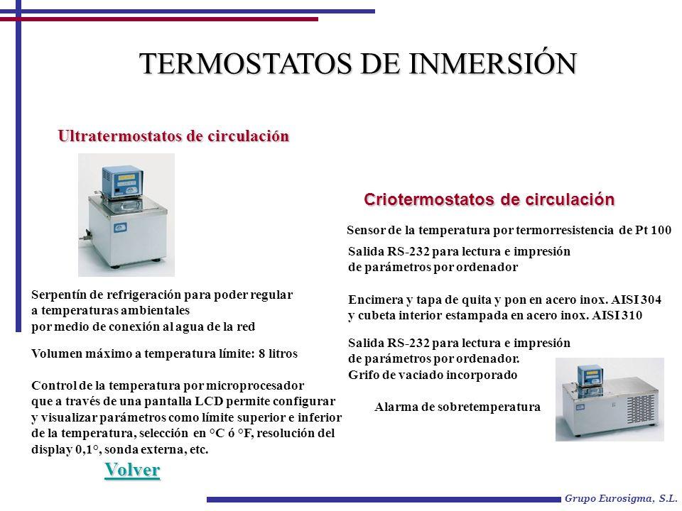 Grupo Eurosigma, S.L. TERMOSTATOS DE INMERSIÓN Ultratermostatos de circulación Criotermostatos de circulación Control de la temperatura por microproce