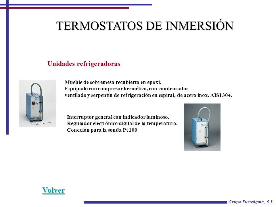 Grupo Eurosigma, S.L. TERMOSTATOS DE INMERSIÓN Unidades refrigeradoras Mueble de sobremesa recubierto en epoxi. Equipado con compresor hermético, con