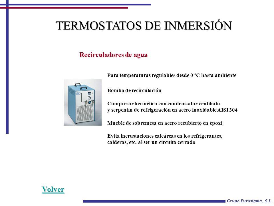 Grupo Eurosigma, S.L. TERMOSTATOS DE INMERSIÓN Recirculadores de agua Para temperaturas regulables desde 0 ºC hasta ambiente Bomba de recirculación Co